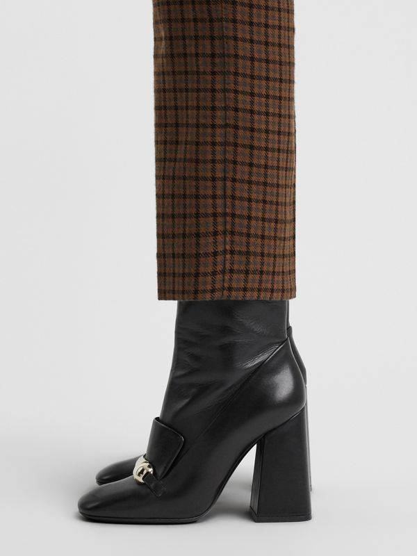 Studded Bar Detail Leather Ankle Boots in Black - Women | Burberry Singapore - cell image 2