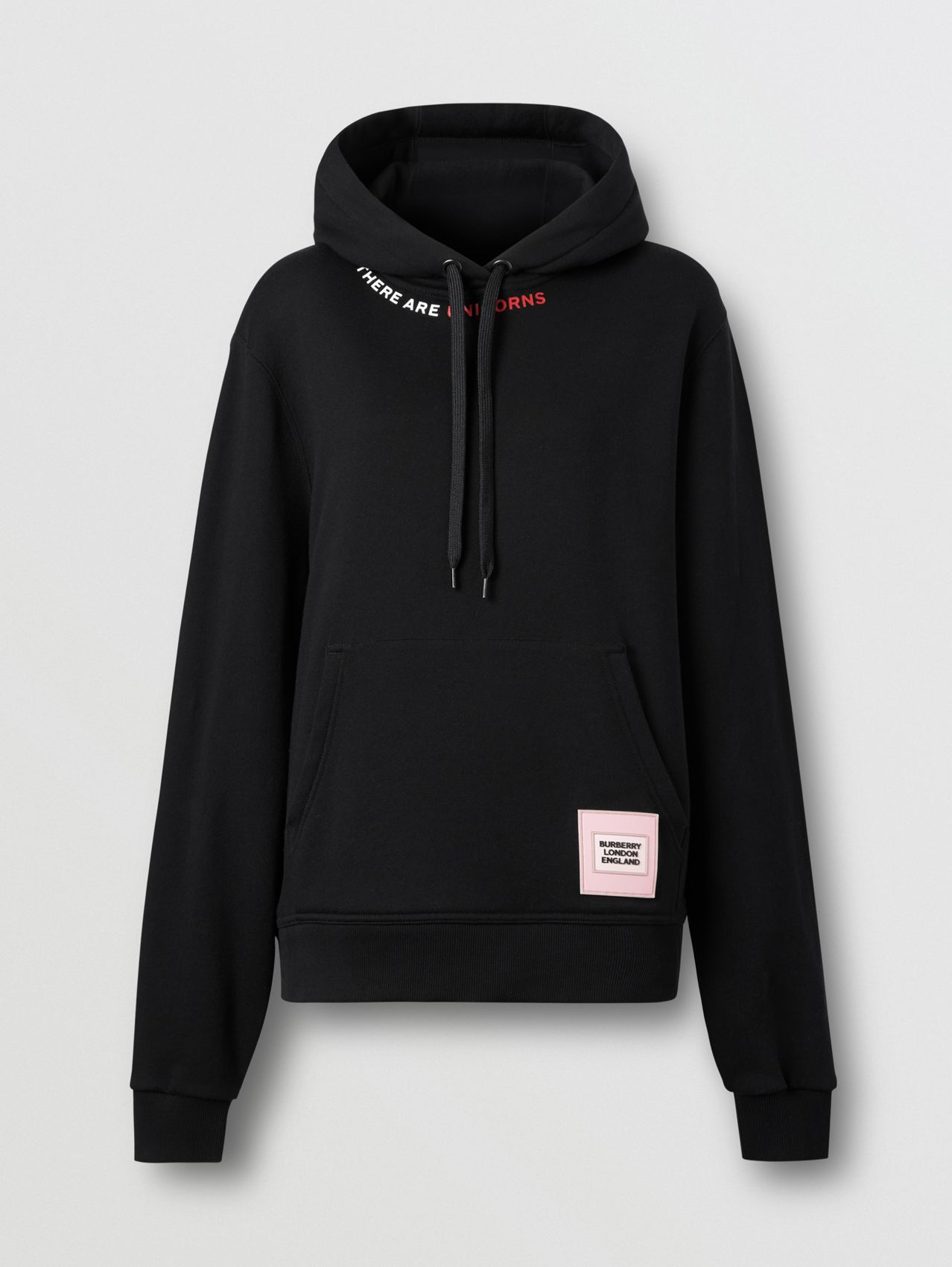 Quote Print Cotton Oversized Hoodie in Black