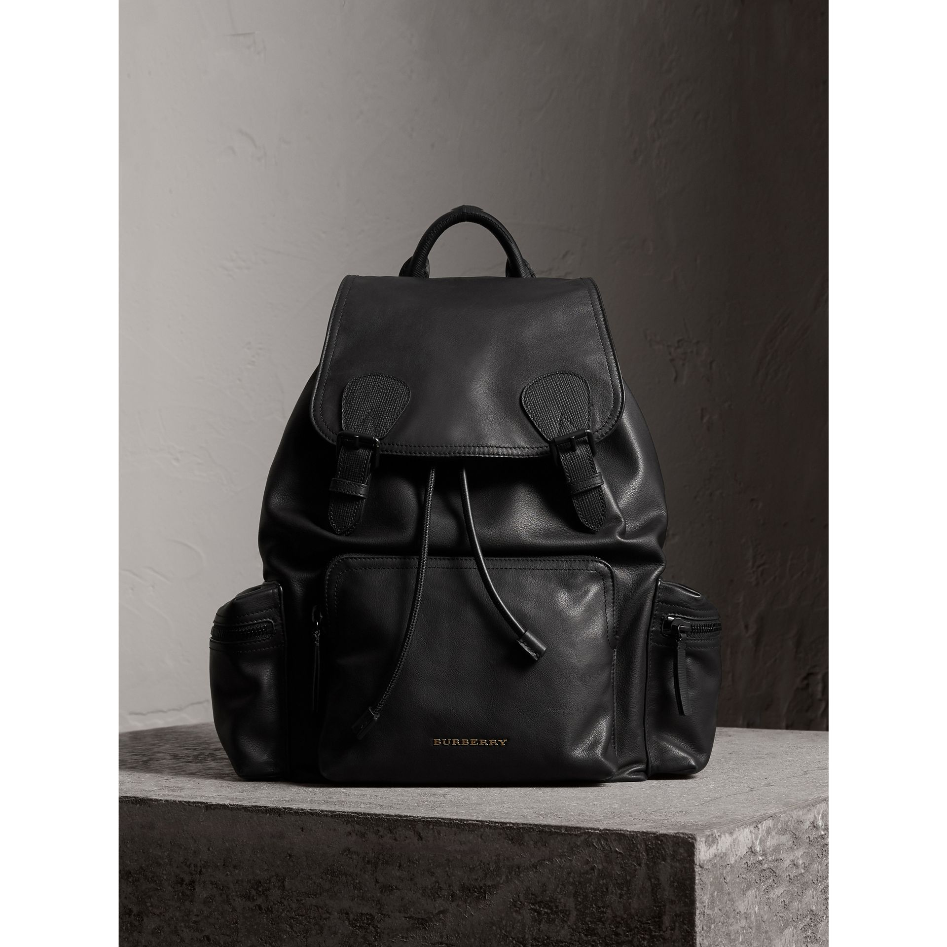 The Large Rucksack in Water-repellent Leather in Black - Men | Burberry Australia - gallery image 1