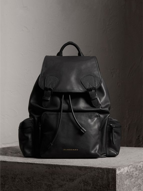 The Large Rucksack in Water-repellent Leather in Black - Men | Burberry