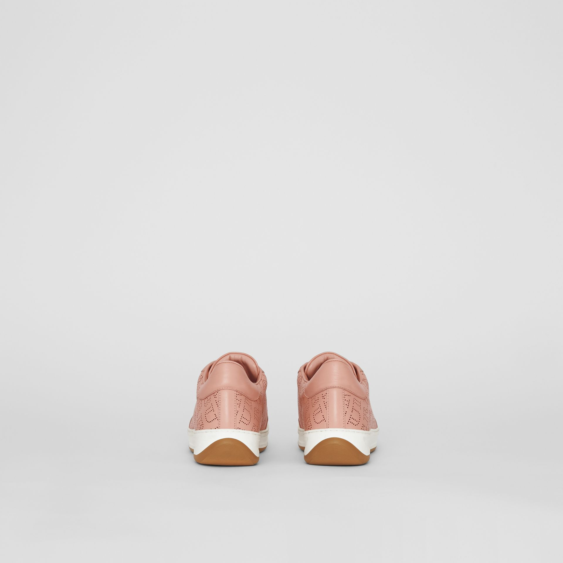 Perforated Logo Leather Sneakers in Pale Fawn Pink - Women | Burberry United Kingdom - gallery image 4