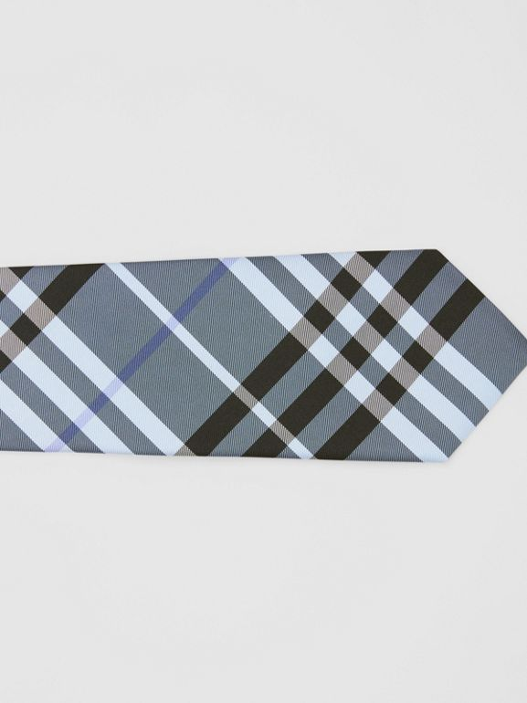 Classic Cut Vintage Check Silk Tie in Light Steel Blue - Men | Burberry - cell image 1