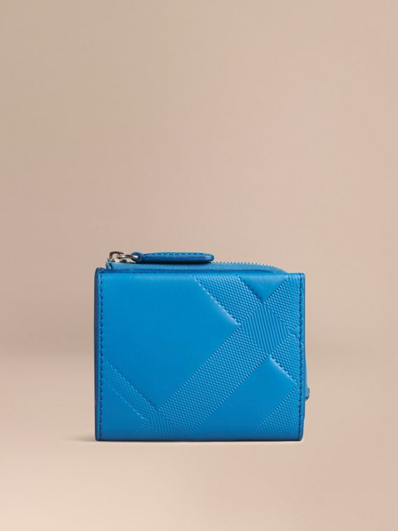 Embossed Check Leather Folding Wallet Blue Azure