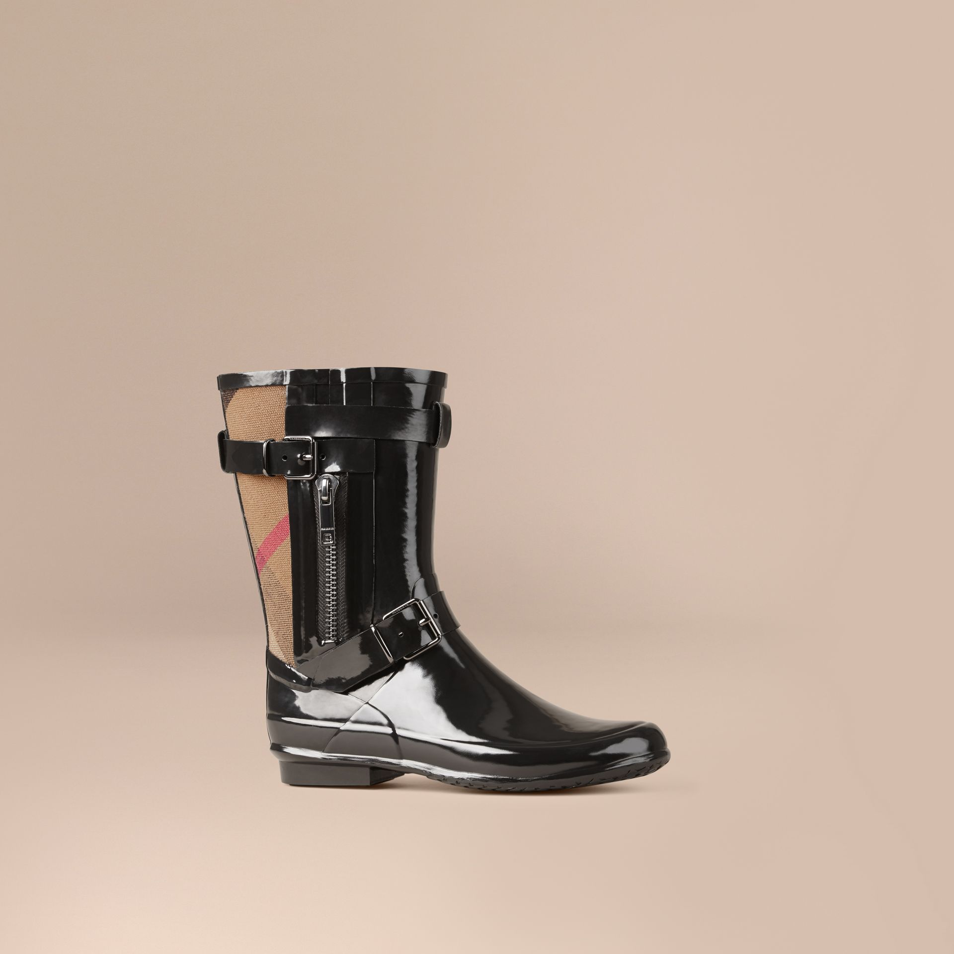 Black Check Detail Belted Rain Boots - gallery image 1