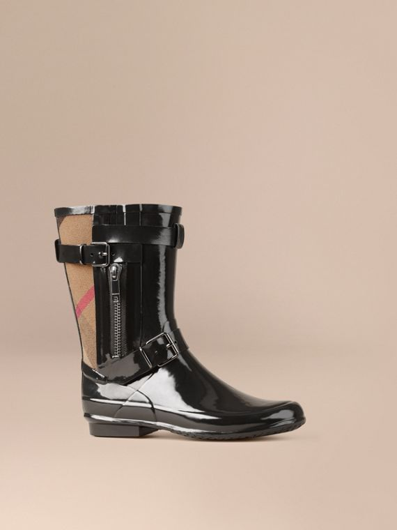 Check Detail Belted Rain Boots - Women | Burberry