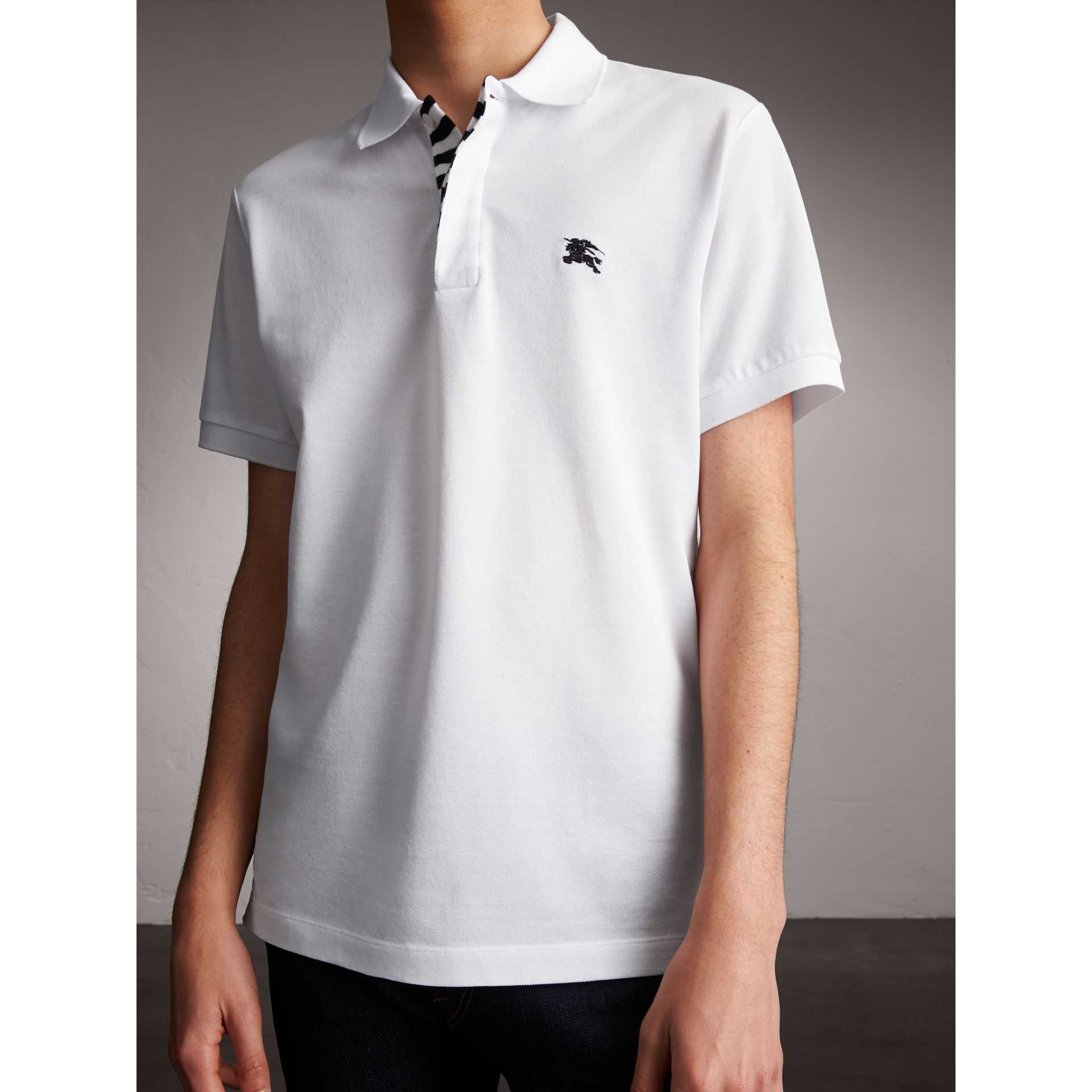 Striped Placket Cotton Piqué Polo Shirt in White - Men | Burberry - gallery image 6