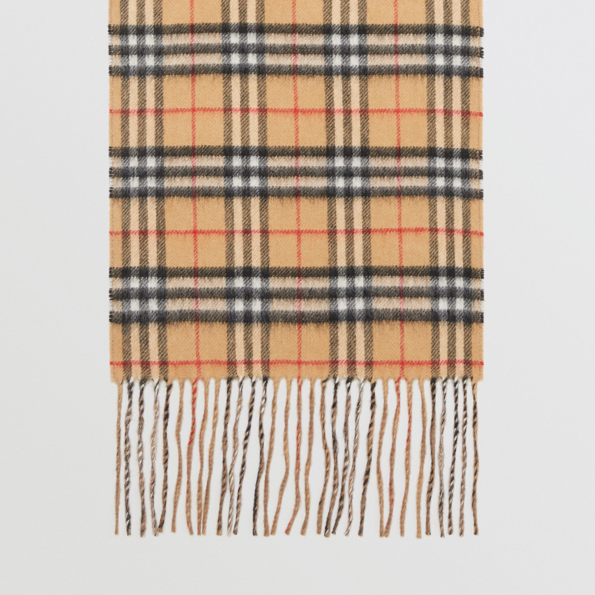 Long Reversible Vintage Check Double-faced Cashmere Scarf in Sandstone | Burberry Canada - gallery image 5