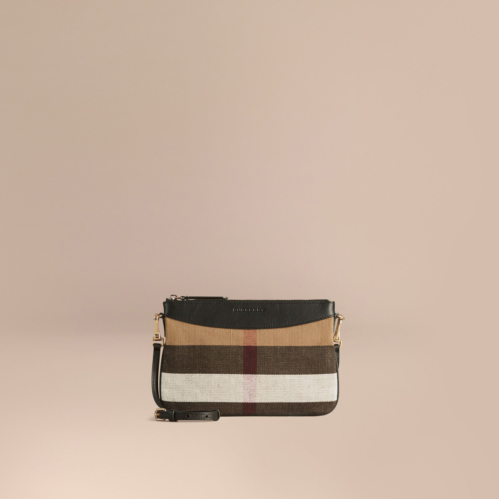 Black Canvas Check and Leather Clutch Bag Black - gallery image 6