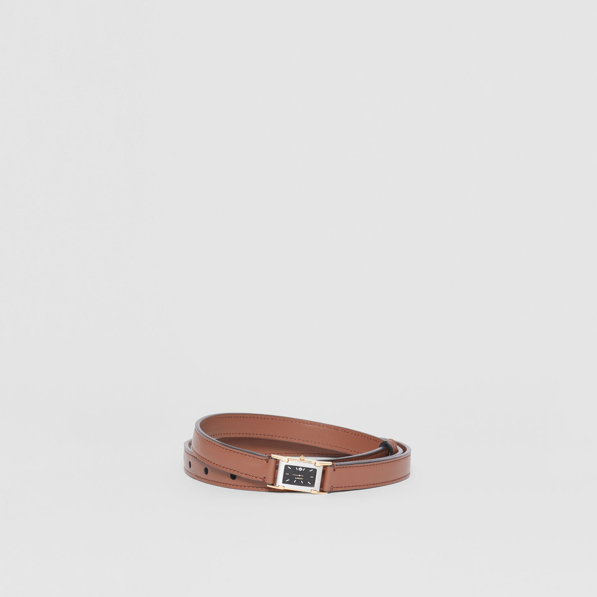 Faux Watch Detail Leather Belt in Tan - Men | Burberry - gallery image 0