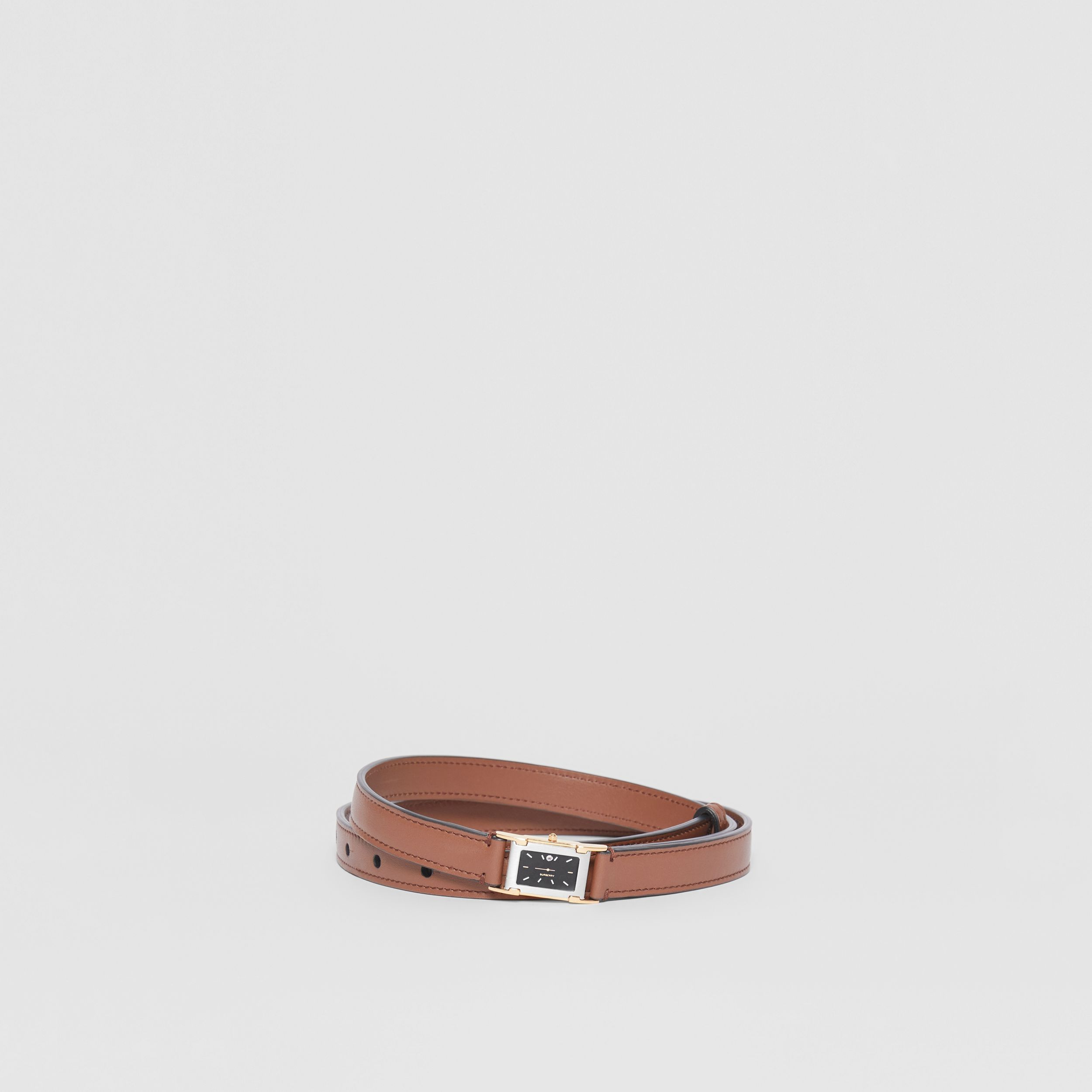Faux Watch Detail Leather Belt in Tan - Men | Burberry Hong Kong S.A.R - 1