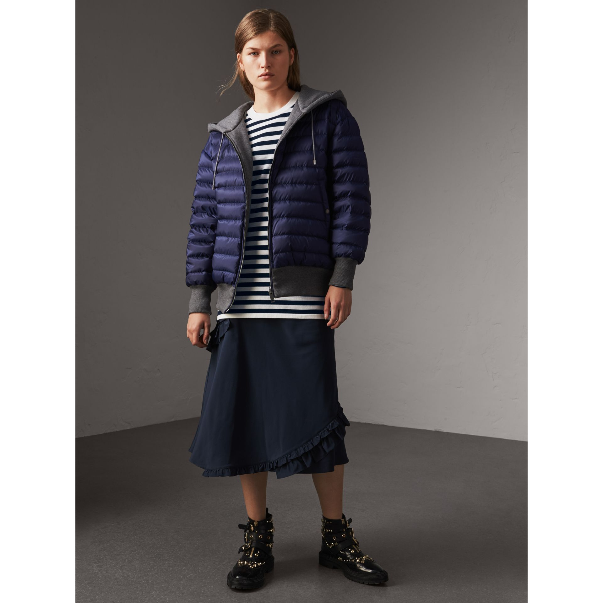 Reversible Down-filled Hooded Bomber Jacket in Bright Navy - Women | Burberry Australia - gallery image 1