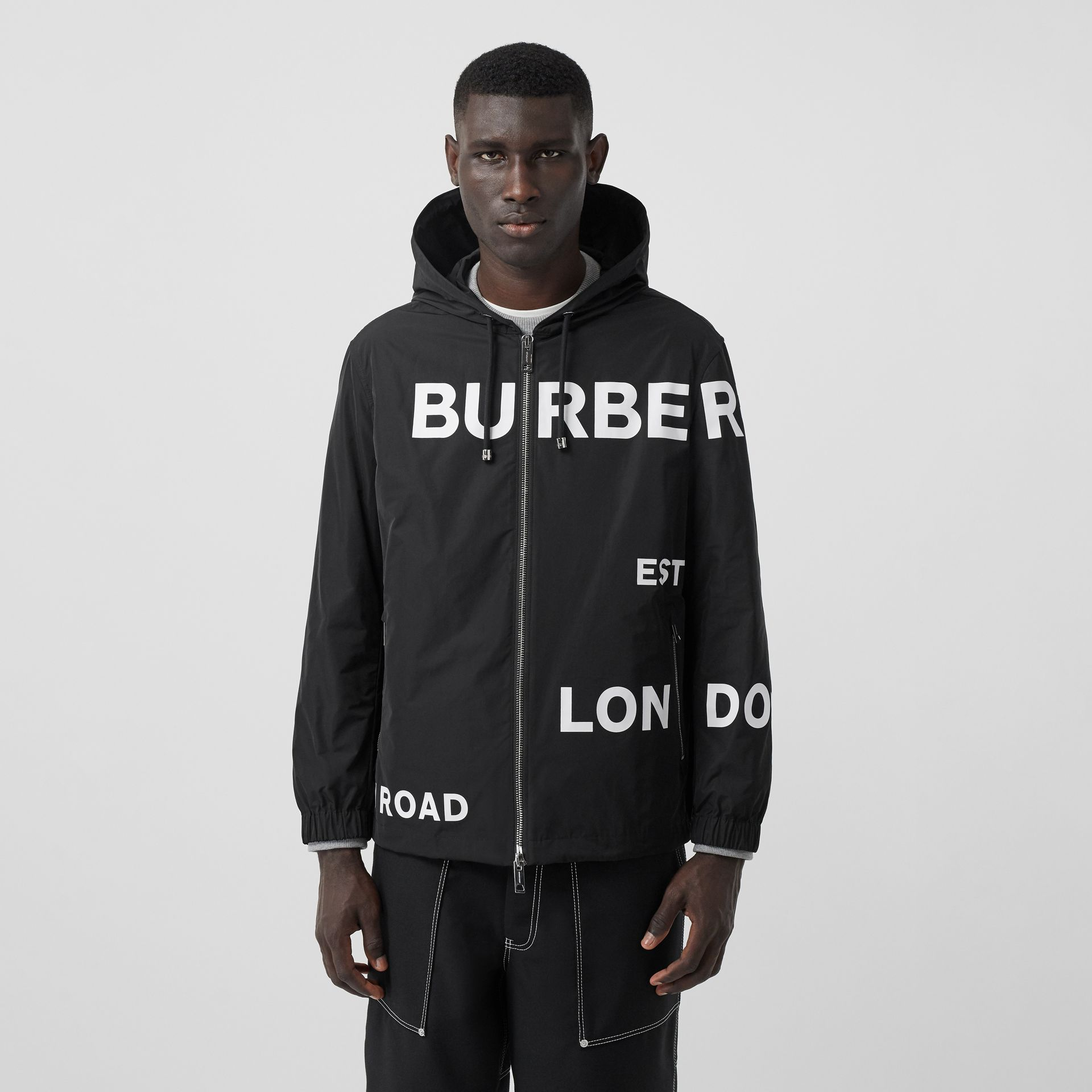Horseferry Print Lightweight Hooded Jacket in Black - Men | Burberry - gallery image 5
