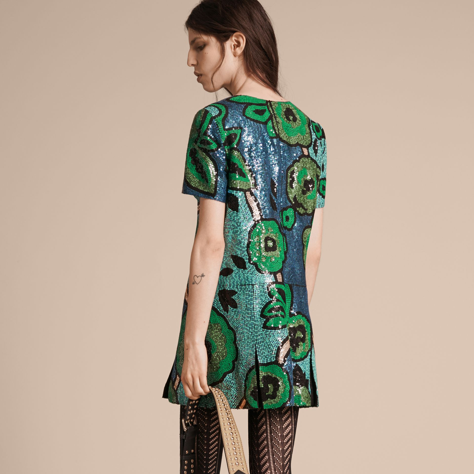 Bright green Hand-embroidered Sequin T-shirt Dress Bright Green - gallery image 3