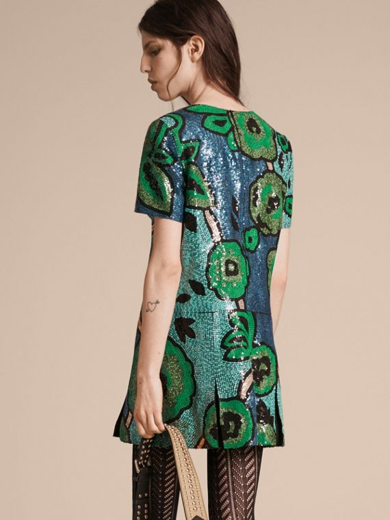 Bright green Hand-embroidered Sequin T-shirt Dress Bright Green - cell image 2
