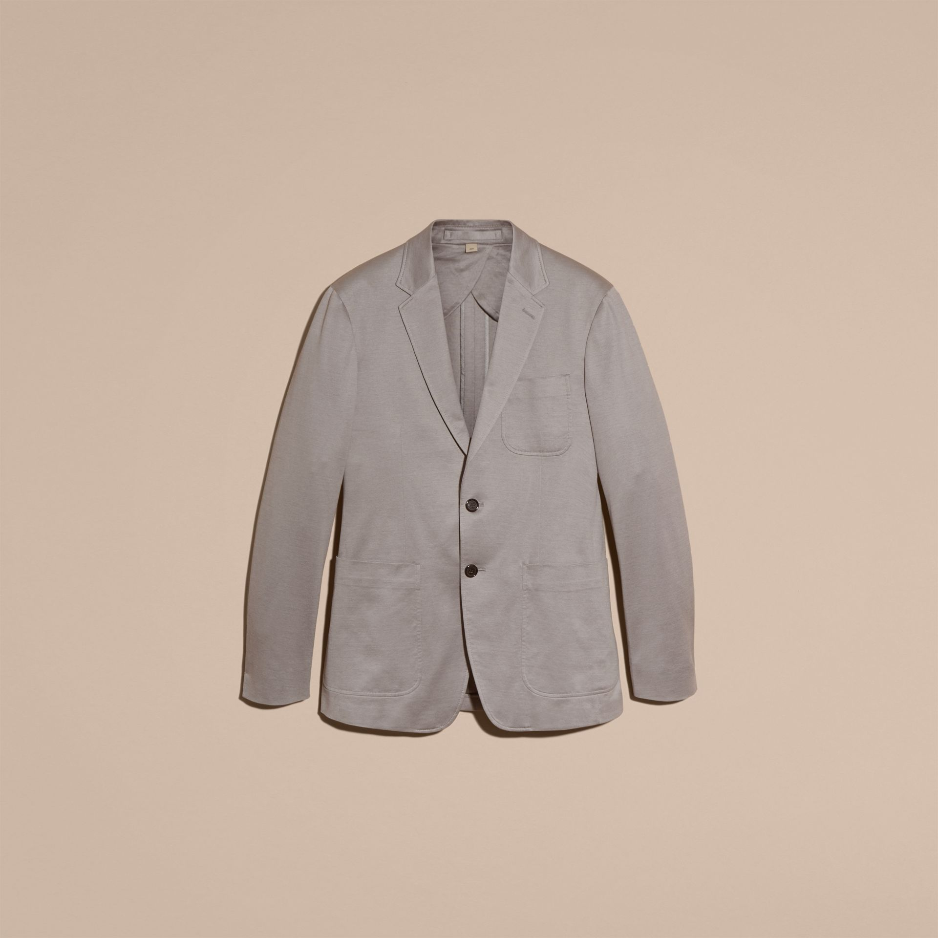 Mid grey melange Slim Fit Tailored Cotton Jersey Jacket Mid Grey Melange - gallery image 4