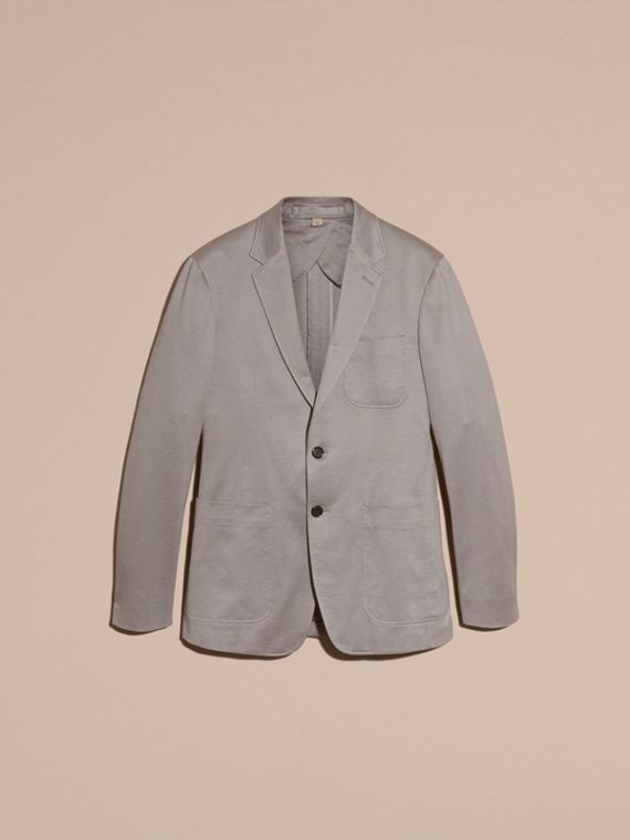 Mid grey melange Slim Fit Tailored Cotton Jersey Jacket Mid Grey Melange - cell image 3