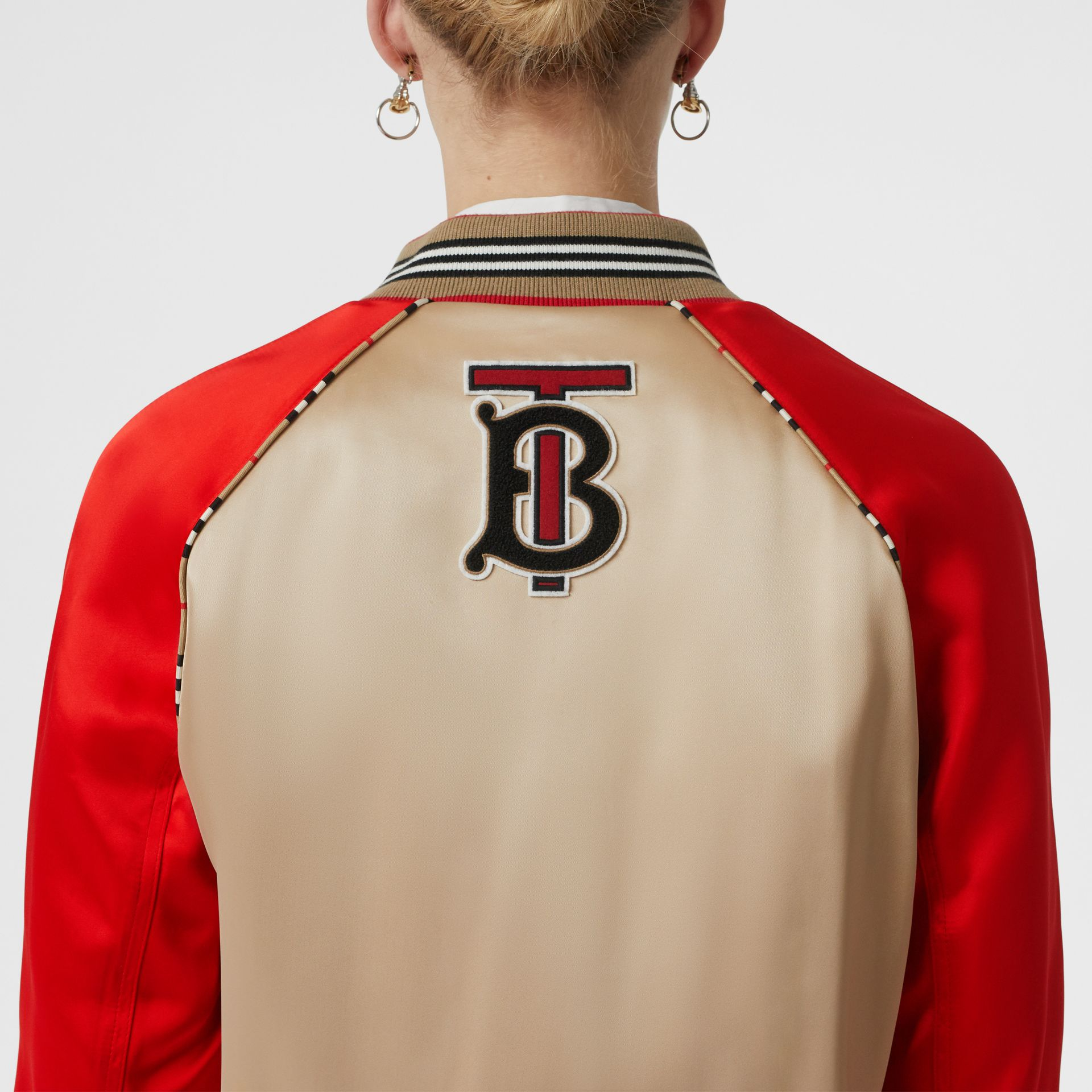 Icon Stripe Detail Monogram Motif Bomber Jacket in Honey/red - Women | Burberry - gallery image 4