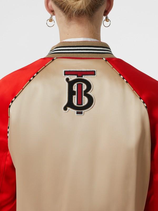 Icon Stripe Detail Monogram Motif Bomber Jacket in Honey/red - Women   Burberry - cell image 3