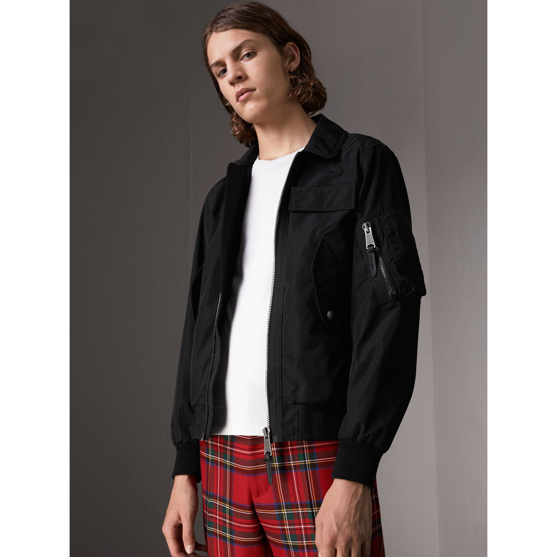 Showerproof Bomber Jacket in Black - Men | Burberry - gallery image 1