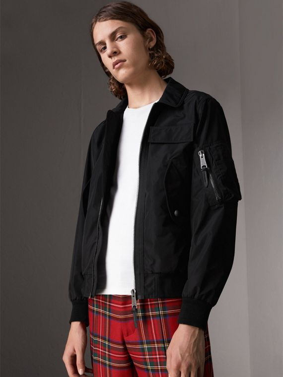 Showerproof Bomber Jacket in Black