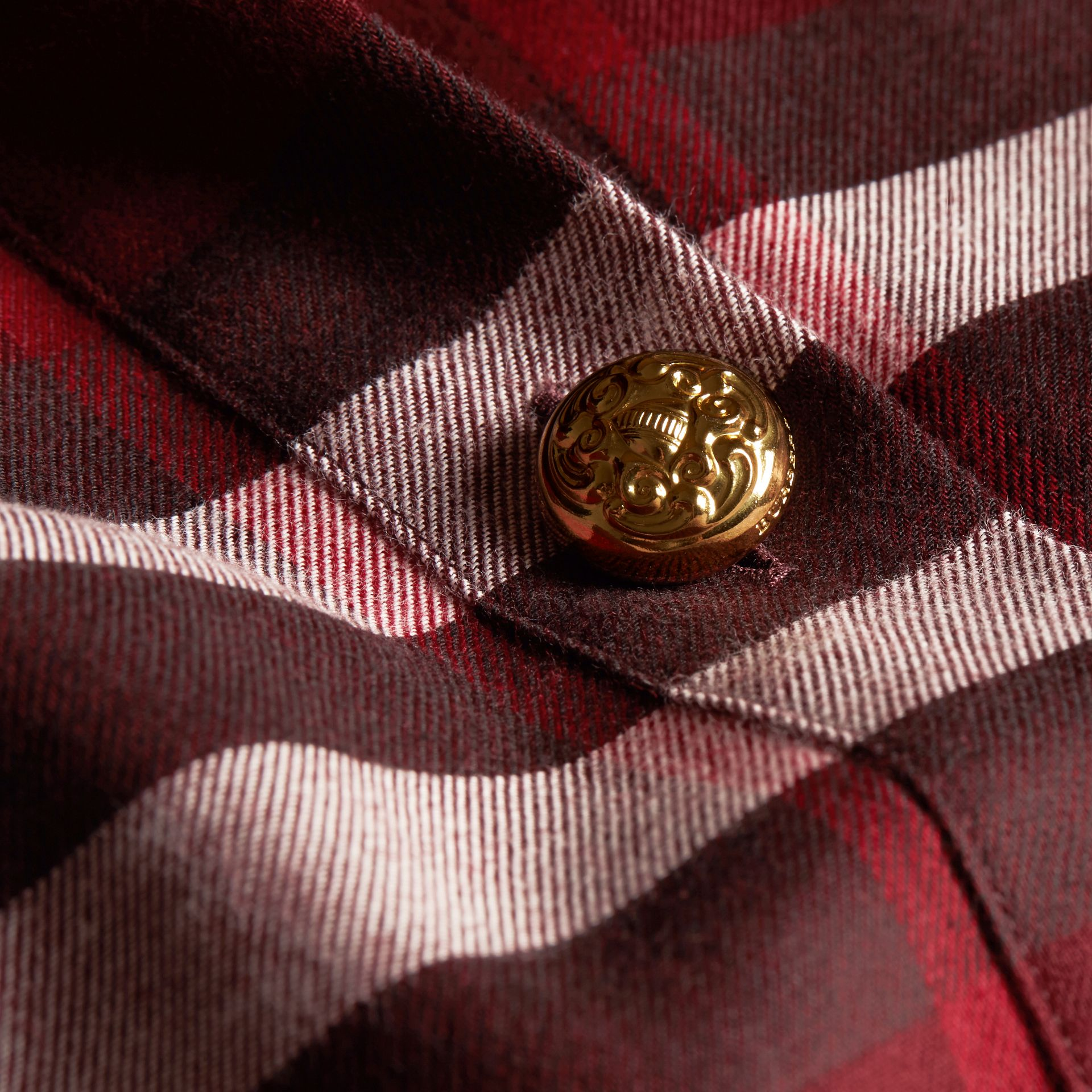 Claret Fitted Cotton Flannel Military Check Shirt - gallery image 2