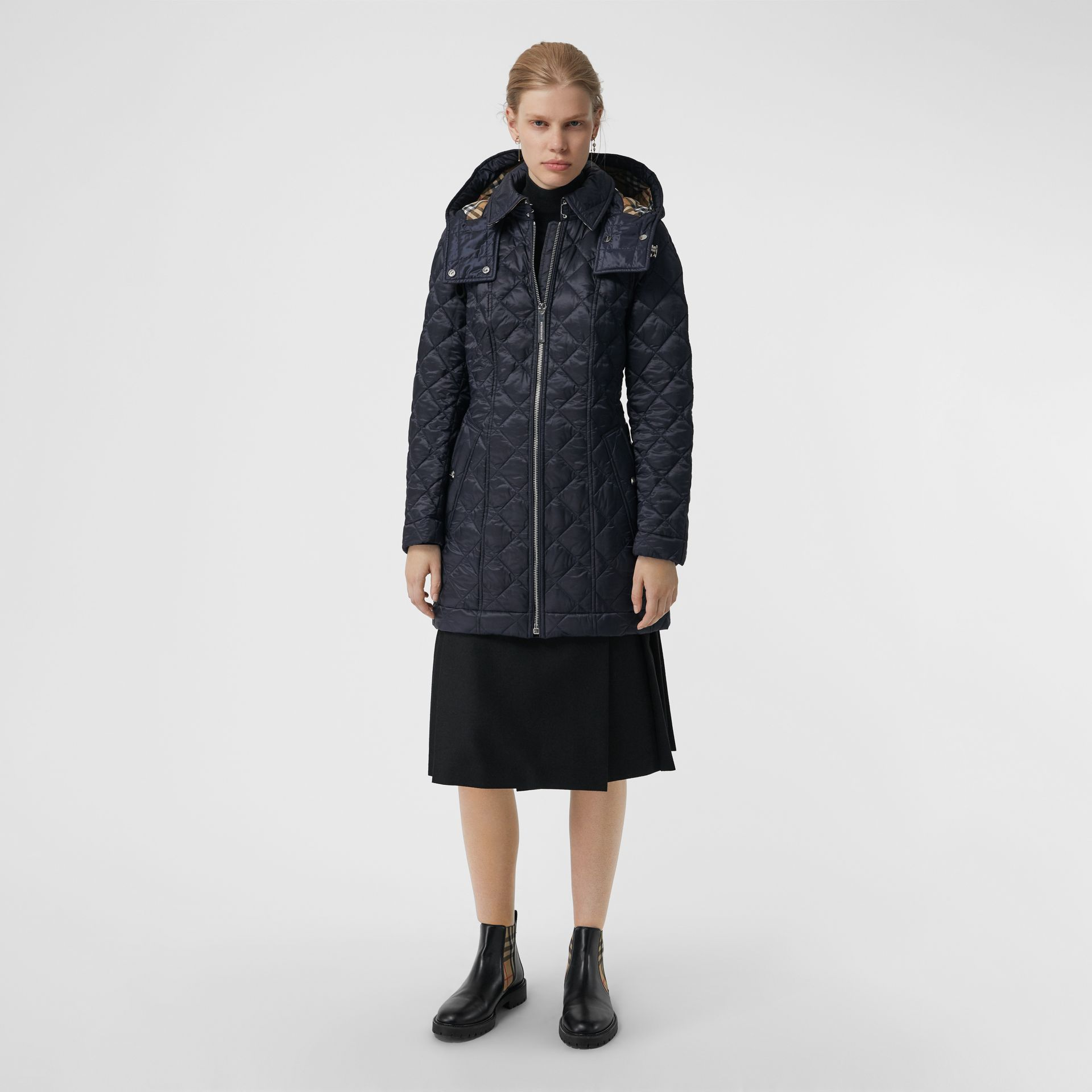 Detachable Hood Lightweight Diamond Quilted Coat in Ink - Women | Burberry - gallery image 6