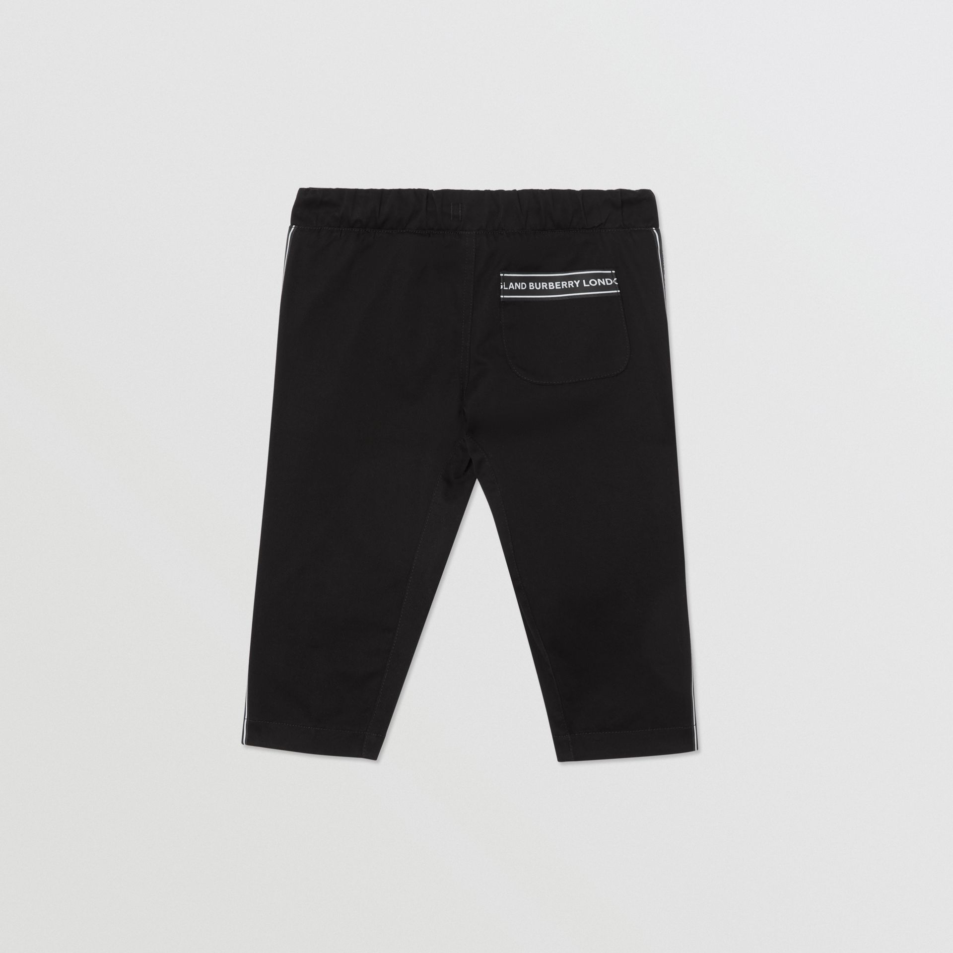 Logo Tape Cotton Chinos in Black - Children | Burberry - gallery image 3