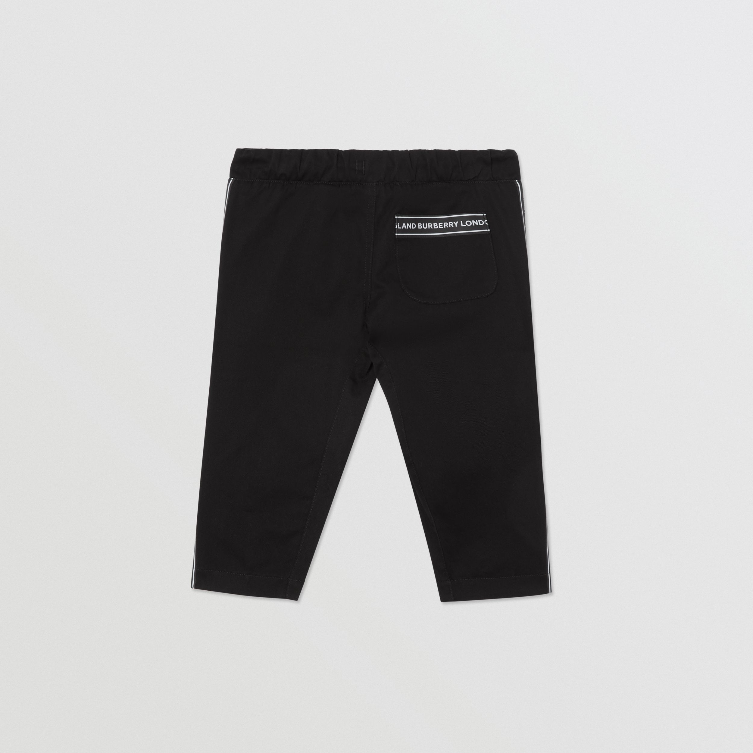 Logo Tape Cotton Chinos in Black - Children | Burberry - 4