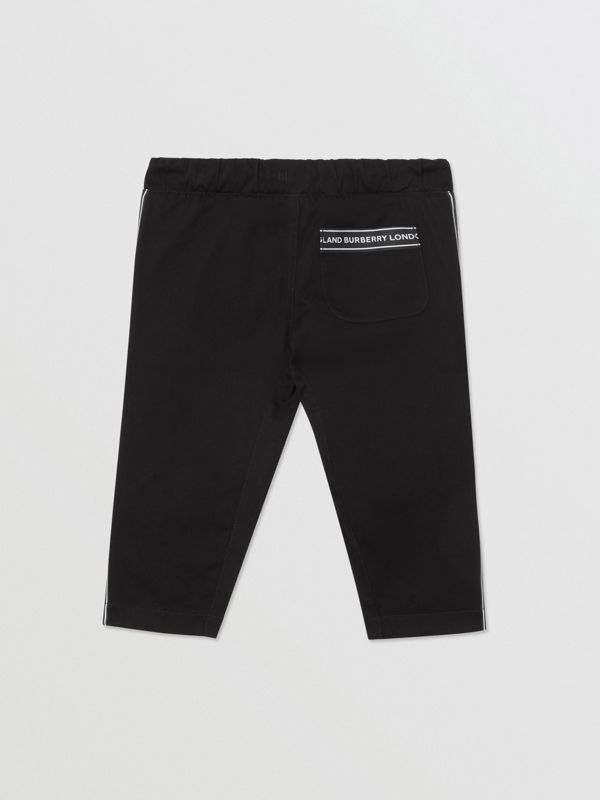 Logo Tape Cotton Chinos in Black - Children | Burberry - cell image 3
