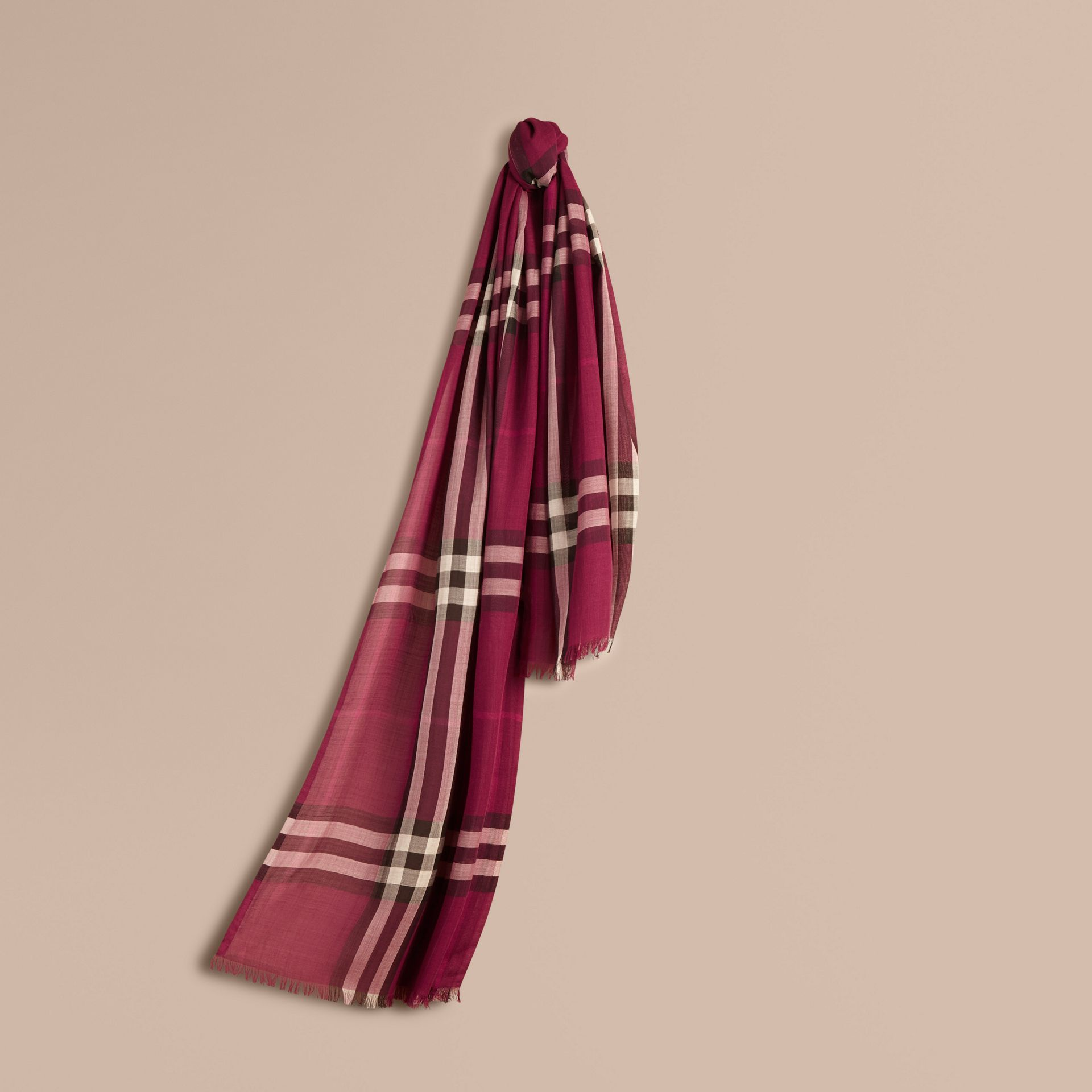 Lightweight Check Wool and Silk Scarf in Plum - gallery image 1