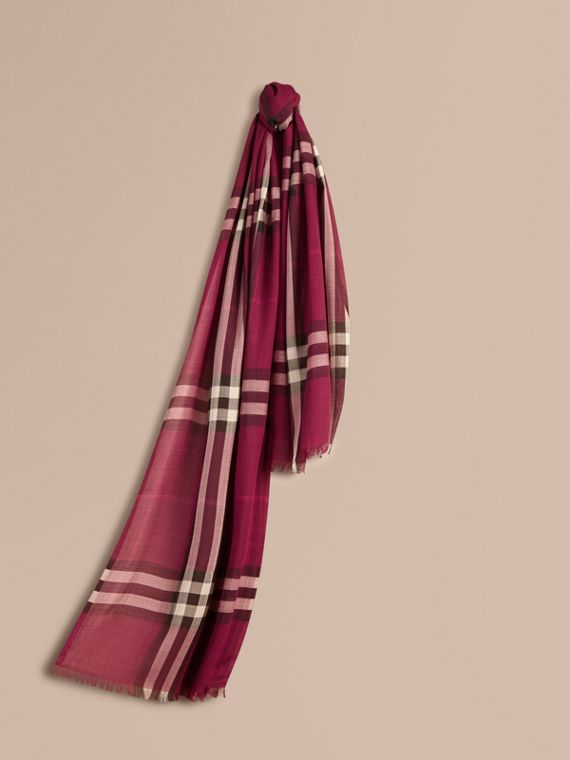 Lightweight Check Wool and Silk Scarf Plum