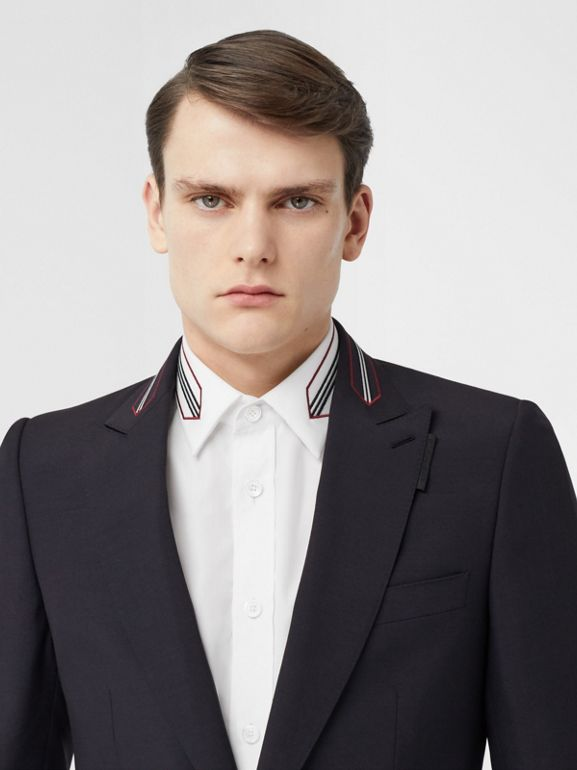 English Fit Stripe Detail Wool Mohair Tailored Jacket in Navy | Burberry - cell image 1