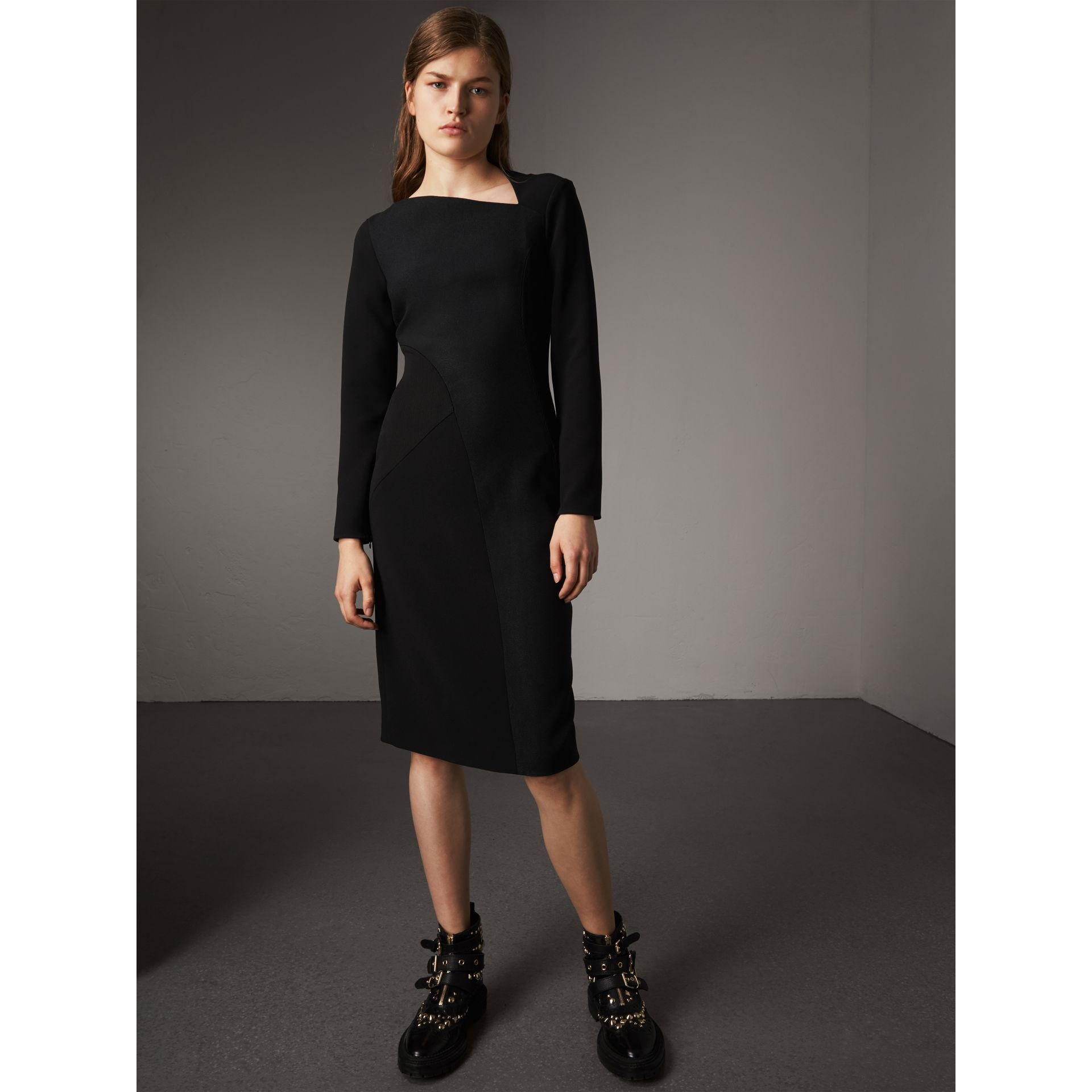 Slash-neck Panelled Dress in Black - Women | Burberry - gallery image 1
