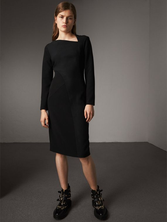 Slash-neck Panelled Dress in Black