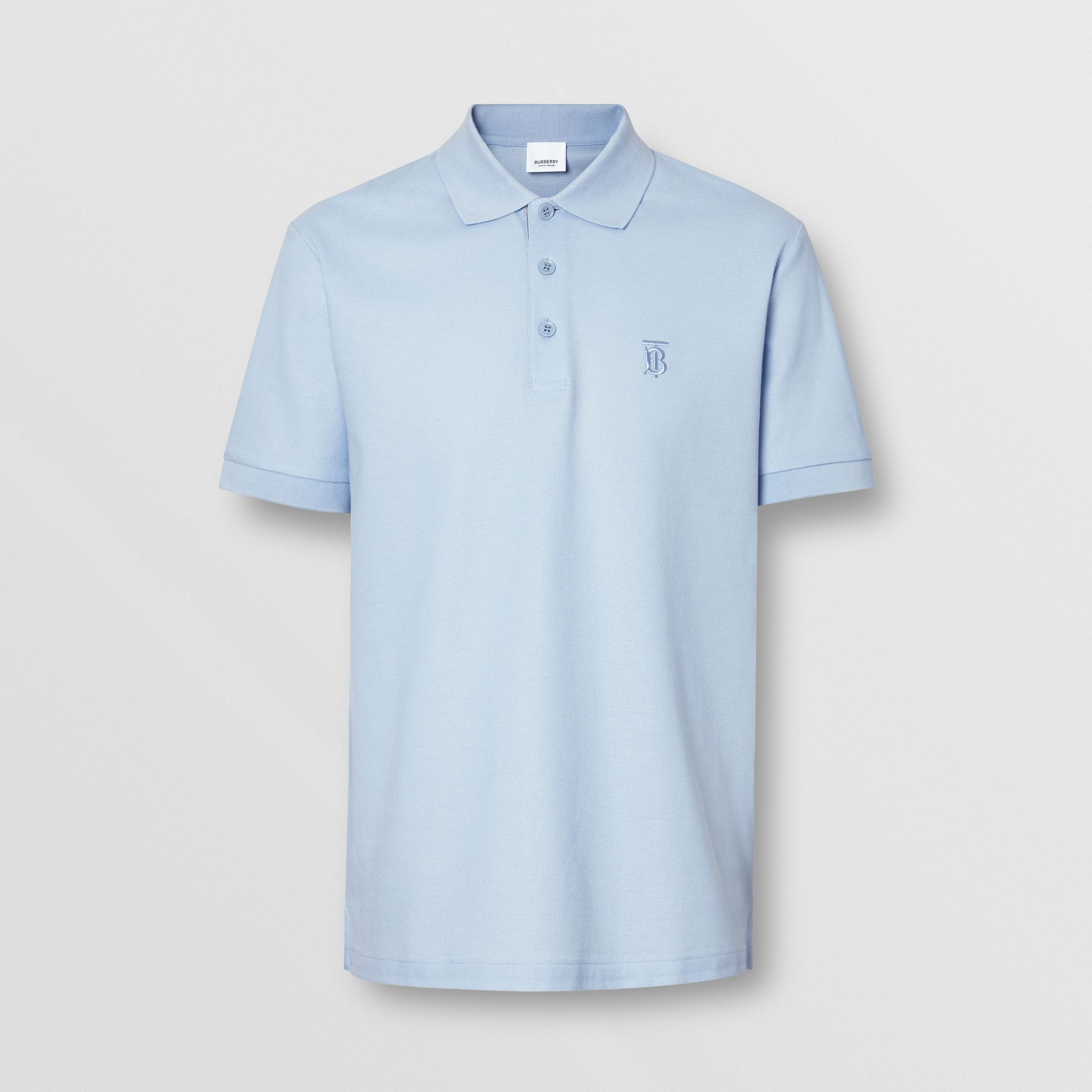 Monogram Motif Cotton Piqué Polo Shirt in Pale Blue - Men | Burberry Singapore - gallery image 3