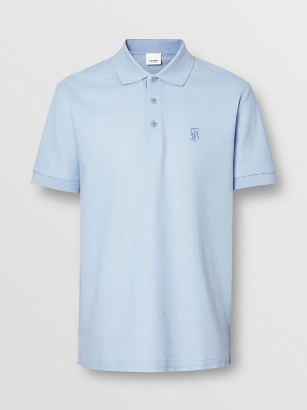 Monogram Motif Cotton Piqué Polo Shirt in Pale Blue - Men | Burberry - cell image 3
