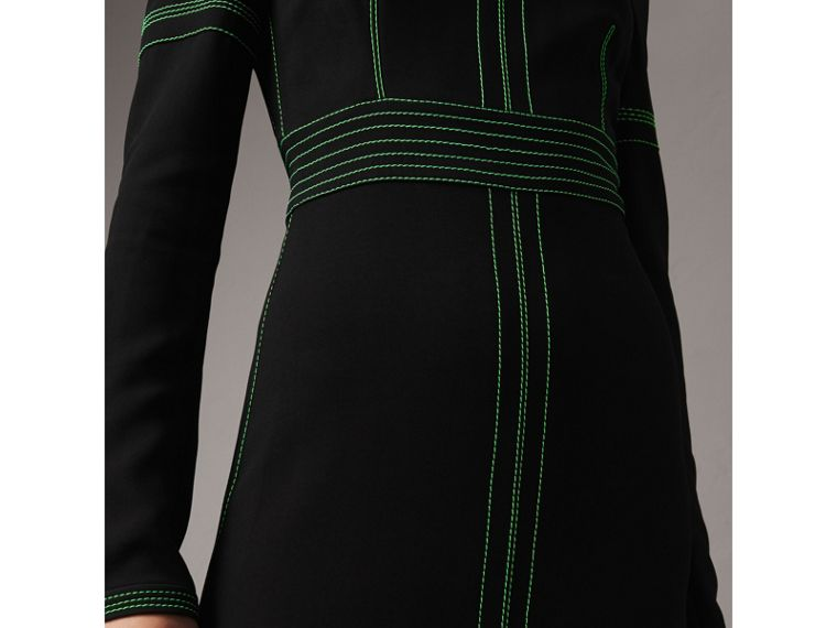Topstitch Detail Crepe High-neck Dress in Black - Women | Burberry - cell image 1