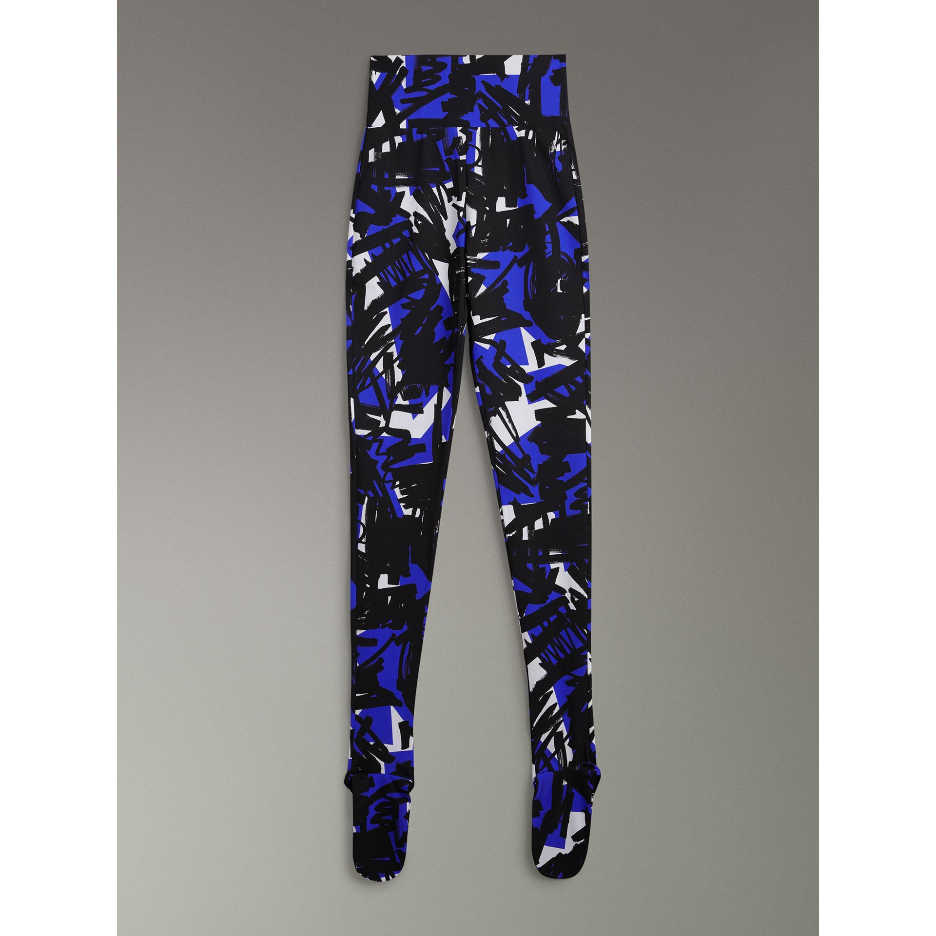 Graffiti Print Leggings in Brilliant Blue - Women | Burberry United Kingdom - gallery image 3