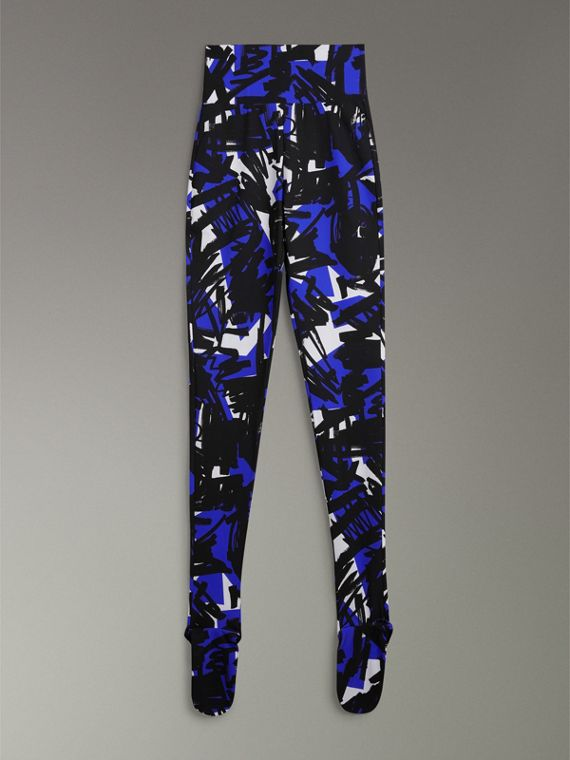 Graffiti Print Leggings in Brilliant Blue - Women | Burberry United Kingdom - cell image 3