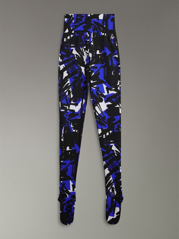 Graffiti Print Leggings in Brilliant Blue - Women | Burberry - cell image 3
