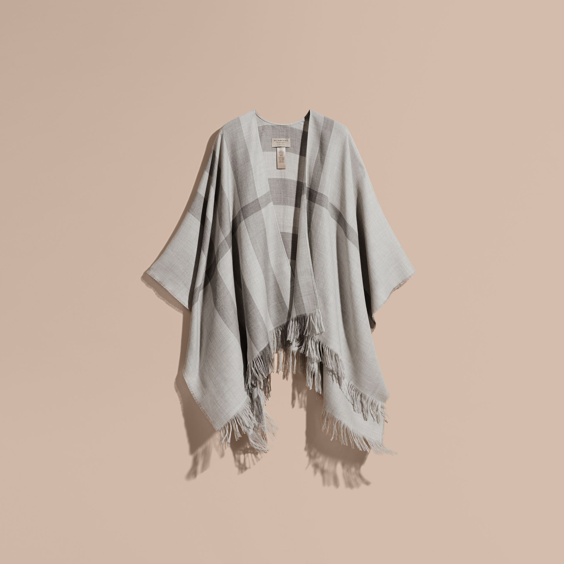 Pale grey Lightweight Check Cashmere Poncho Pale Grey - gallery image 4