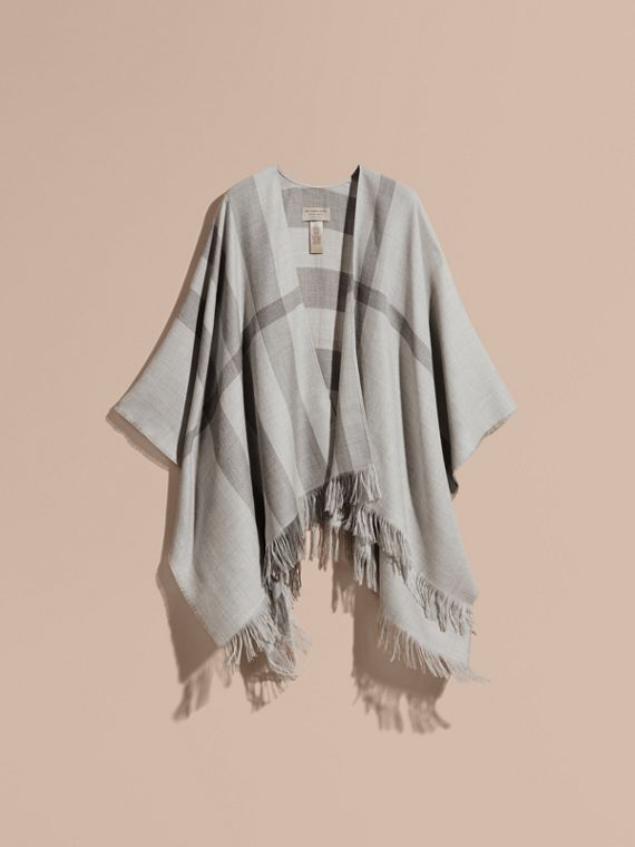 Lightweight Check Cashmere Poncho in Pale Grey - cell image 3