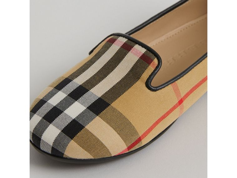 Vintage Check Slippers in Antique Yellow - Girl | Burberry - cell image 1