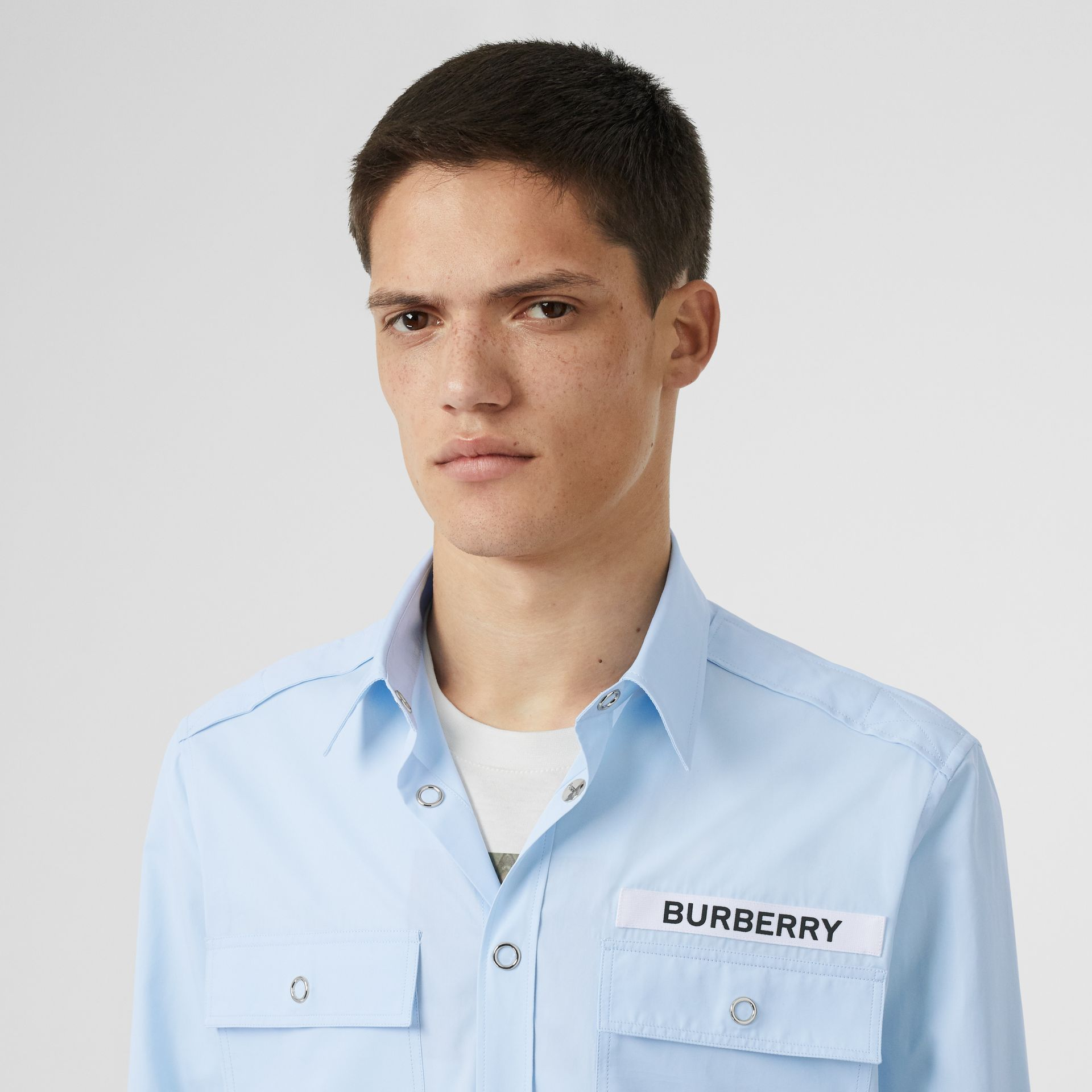 Logo Detail Military Cotton Shirt in Pale Blue - Men | Burberry Singapore - gallery image 1