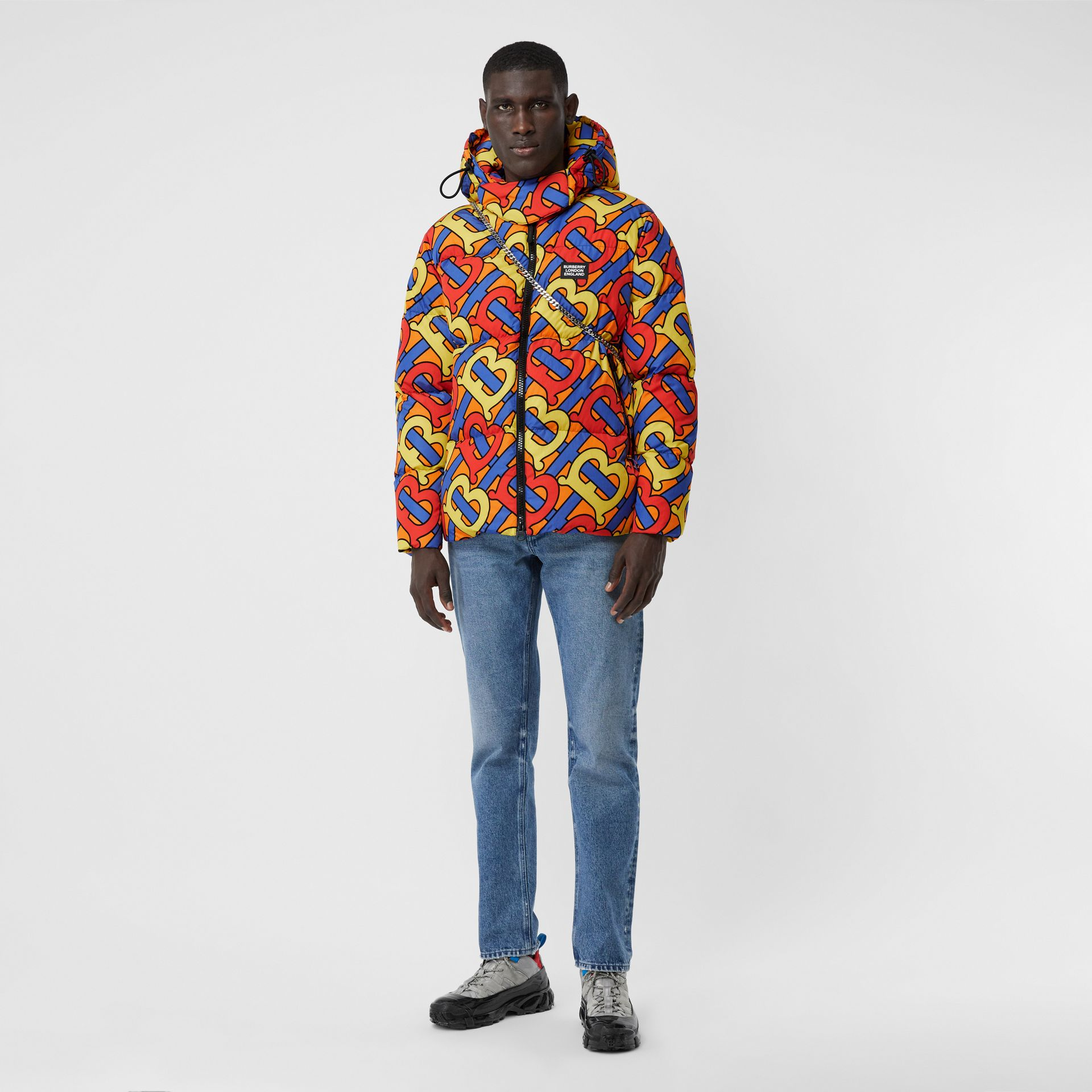 Monogram Print Puffer Jacket in Multicolour | Burberry - gallery image 3