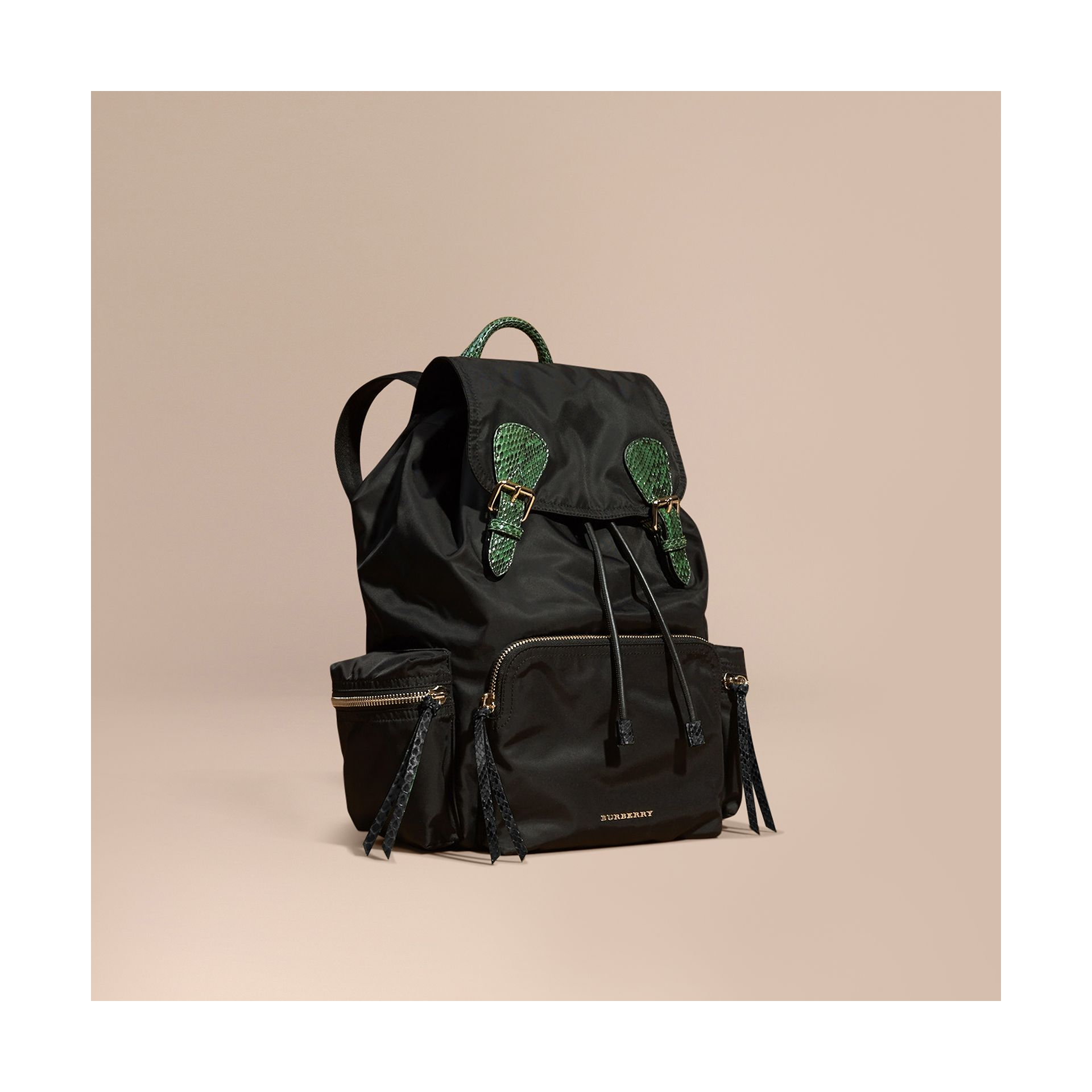 Black/bright green The Large Rucksack in Technical Nylon and Snakeskin Black/bright Green - gallery image 1