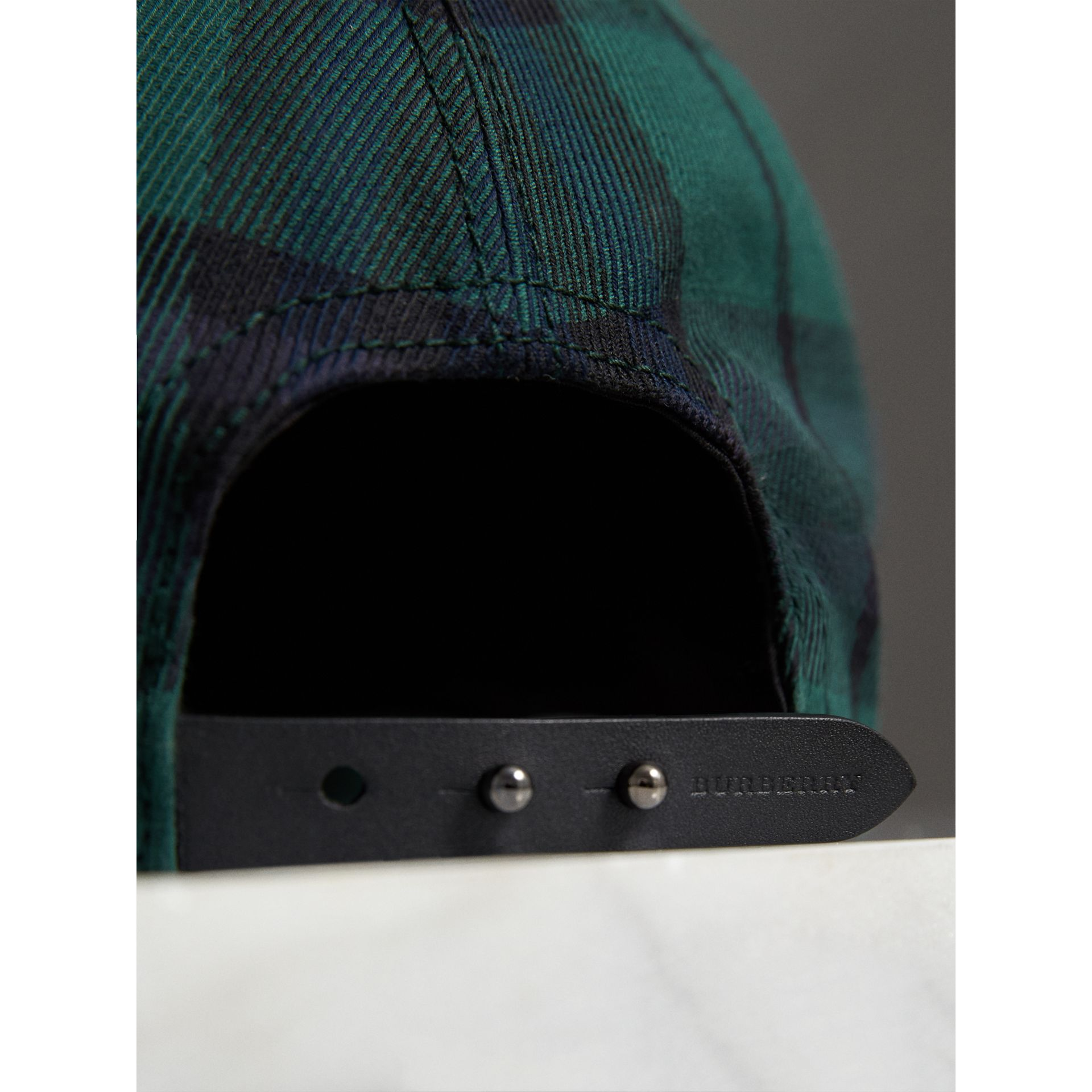 Tartan Baseball Cap in Racing Green | Burberry - gallery image 1