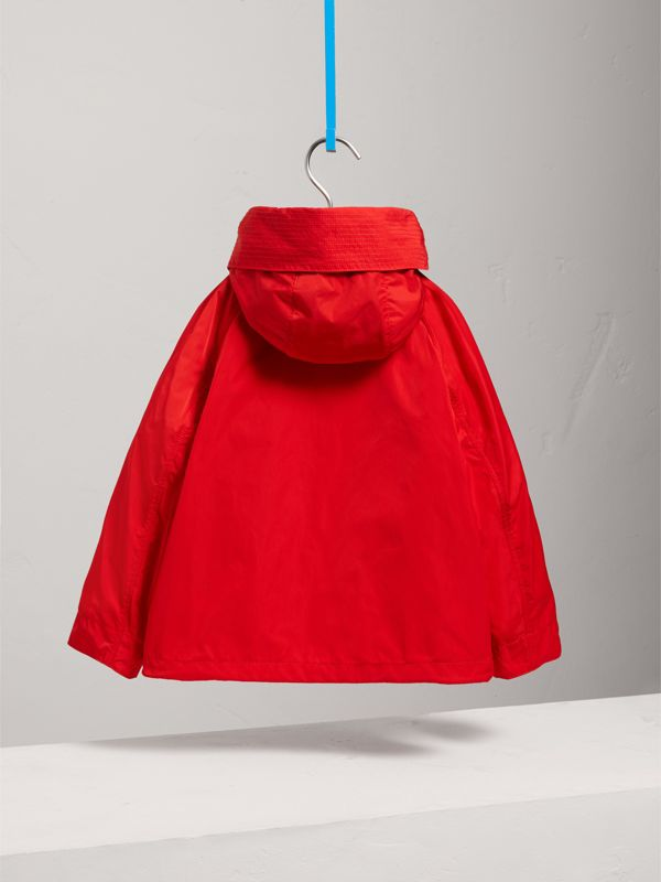 Hooded Shape-memory Taffeta Field Jacket in Bright Orange Red | Burberry - cell image 3