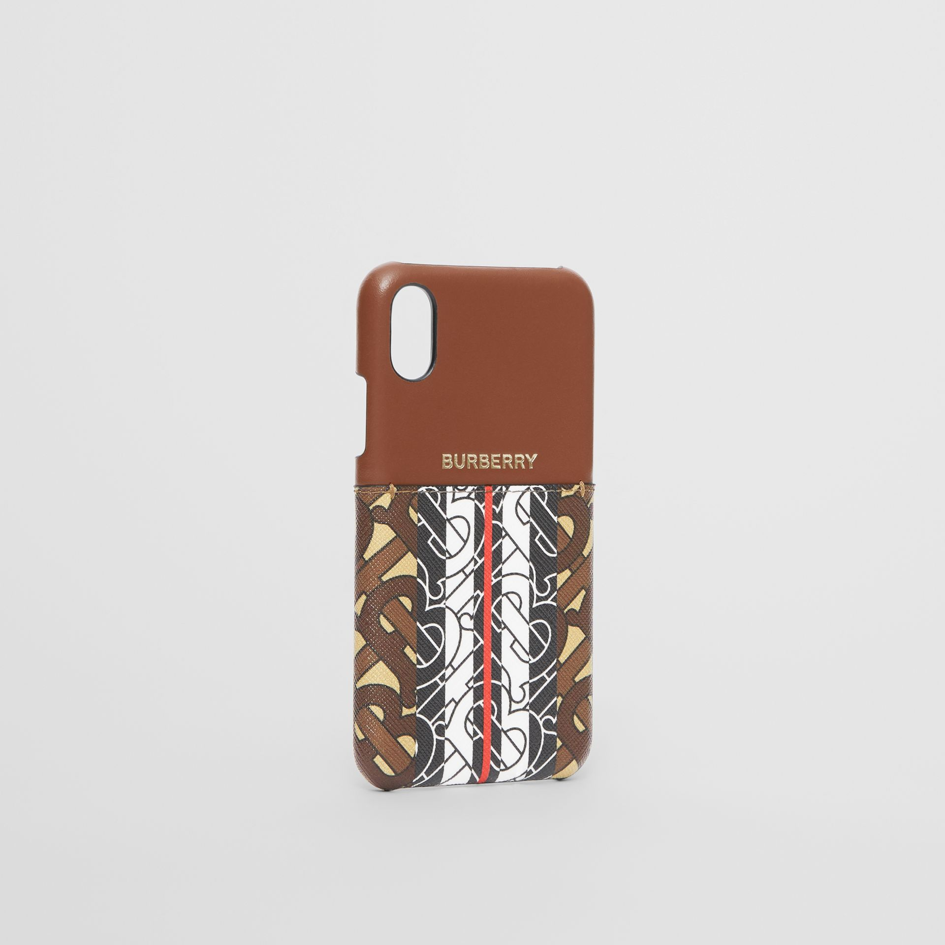 Leather and Monogram Stripe E-canvas iPhone X/XS Case in Bridle Brown | Burberry Canada - gallery image 2
