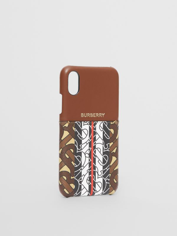 Leather and Monogram Stripe E-canvas iPhone X/XS Case in Bridle Brown | Burberry Canada - cell image 2